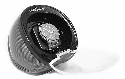 Black  Diplomat Watch Winder Carbon Fiber Pattern Single Automatic Single