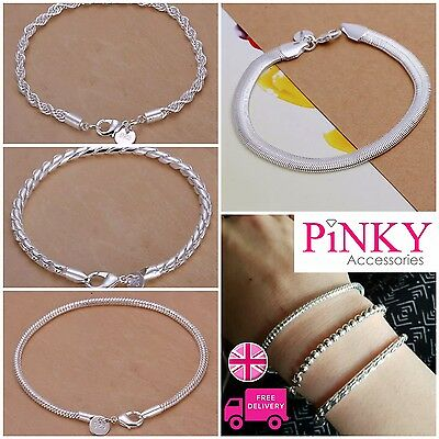 925 Silver Stamped Flat Chain Snake Style Curb Link Bracelet Gift UK