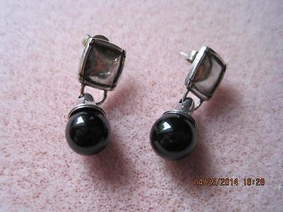 STERLING SILVER Small Square with BLACK ONYX Dangly Ball Pierced Earrings