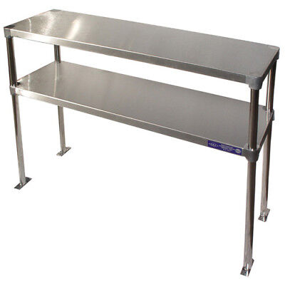 "Stainless Steel Adjustable Double Over-Shelf 18"" Wide Size 60"""