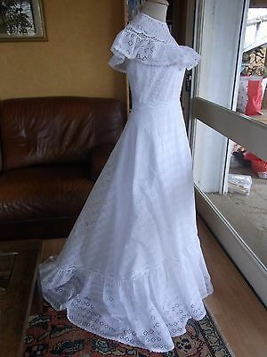 MARIAGE ROBE MARIEE BLANCHE T38/40 PRONUPTIA VINTAGE 70 Wedding dress size S/M