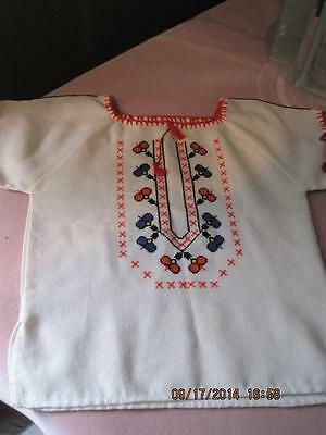 AUSTRIAN STYLE Hand Stitched White Woven Child's Shirt Beautiful