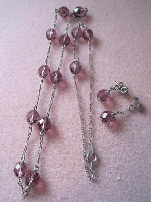 Stunning MAUVE Faceted Crystal Beads Silver Tone Chain NECKLACE & EARRINGS