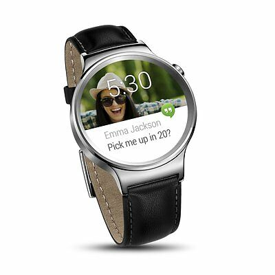 Huawei Smartwatch Stainless Steel w/ Black Suture Leather Strap IOS/Android NEW