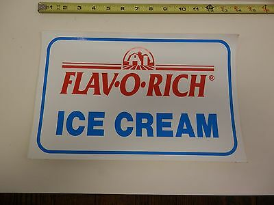Vtg - NOS -FLAV O RICH - ICE CREAM -  Advertising Sticker - unused - Large
