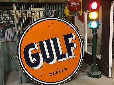 "LQQK! VinTaGE DSP PORCELAIN 1956 GULF DEALER Sign Gas Oil LARGE 72"" Double Sided"