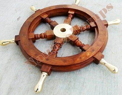 """Vintage Style Nautical Ship Decor Boat Wheel 18"""" Wooden Brass Centre 6 Handle"""