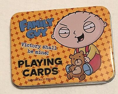 Rare Oop Family Guy Playing Cards In Stewie Metal Card Tin New And Sealed