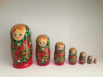 Set of 7 Hand Painted Russian Nesting Matryoshka Dolls. Largest 8''