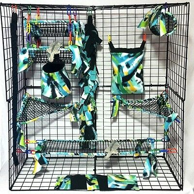 Green Mercer * 15 PC open weave Sugar Glider Cage set *Rat * double layer Fleece