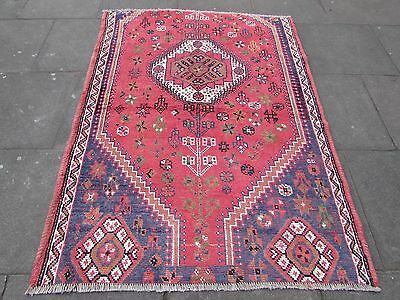 Old Traditional Shabby Chic Persian Rug Wool Red Oriental Handmade Rug 195x135cm