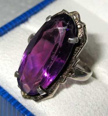 Antique Authentic Stunning Art Deco Sterling Silver Cocktail Ring, 1920-30s