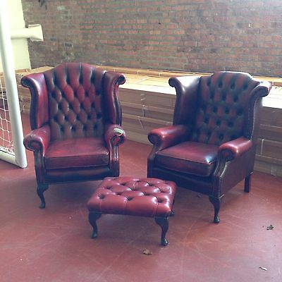Leather Chesterfield Chairs And Footstool- Vintage/ Antique