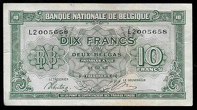 World Paper Money - Belgium 10 Francs 1943 Pick 122 @ Crisp VF