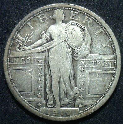 1917 Type I Standing Liberty Silver Quarter Dollar 25 Cent Fine US Type Coin VF