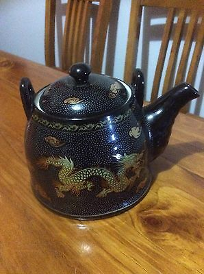 Vintage Chinese Teapot Black And Gold