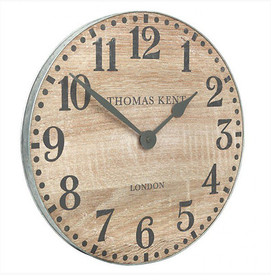 Large Rustic Retro Vintage Shabby Chic Industrial Station Kitchen Oak Wall Clock