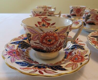 Antique Booths Demitasse Cups and Saucers DOVEDALE A8044 Imari Rust Blue England