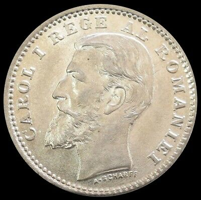 1900 Silver Romania 50 Bani Carol I Coin Mint State Condition