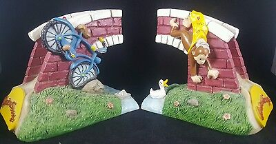 Vandor Curious George Monkey Bicycle & Bridge Bookends Figure Nursery Kids Room