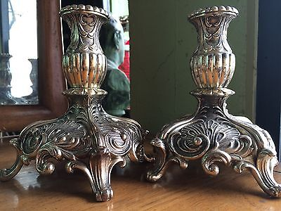 Pair Of Silver Plate Ornate Baroque Candlesticks