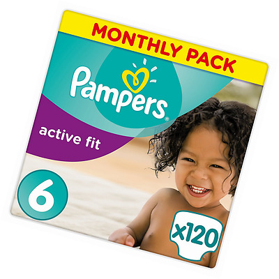 Pampers Premium Protection Active Fit Nappies, Monthly Saving Pack - Size 6, 120