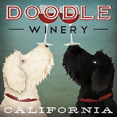 """LABRADOODLE DOG ART PRINT RETRO STYLE ADVERT POSTER """"Doodle Winery California"""""""