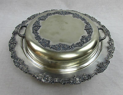 Antique Sheffield Silver Plate Dish Divided Lid w/ Handle Ornate serving item