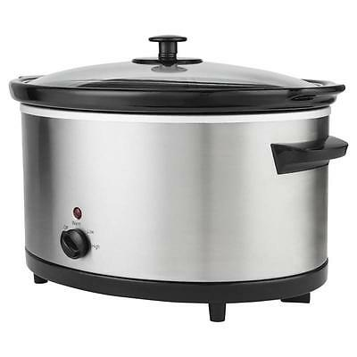 Debranded Brushed Stainless Steel Finish Slow Cooker 5.5L with 3 Heat Settings