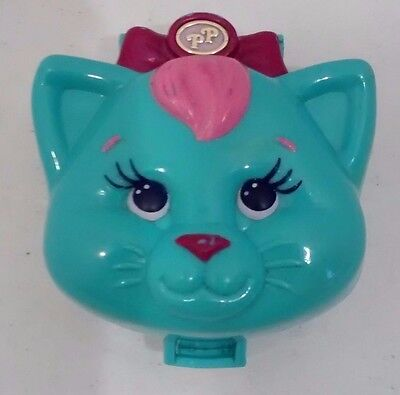 1993 Polly Pocket Bluebird Cuddly Kitty Cat Furry Pets Turquoise Compact