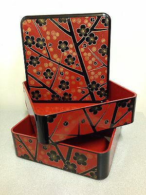 Japanese Lacquered 2 Tier Footed Nesting Bento Box ~ Black/Red