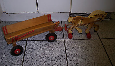 Vintage HANDMADE Wooded HORSE AND WAGON Toy, FOLK ART Toy