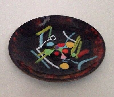 Vintage Copper Enamel Dish Mid Century Modern Abstract Art