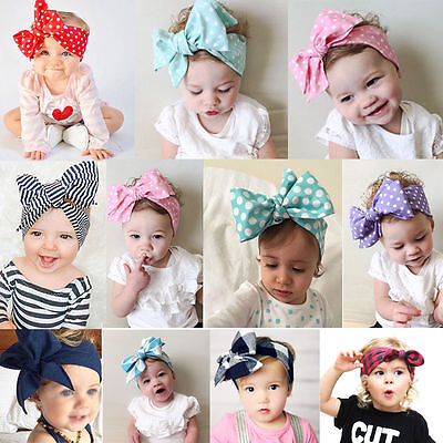 Newborn Baby Toddler Girl Princess Gold Bow Flowers Hair Band Turban Headband