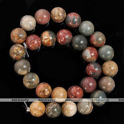14mm Natural Picasso Jasper Gemstone Round Loose Ball Beads Wholesale