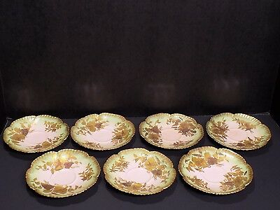 7 HTF Antique HAMMERSLEY Pink Green Gold Raised Morning Glory Saucers England