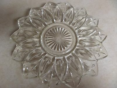 """Vintage Petal Federal Depression Clear Glass Plate 9.25"""" Beautiful"""