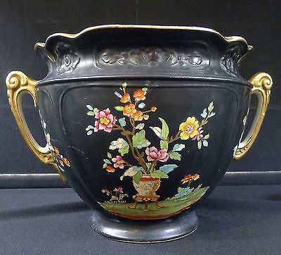 Corona Ware Jardiniere--S. Hancock--England--Lovely Floral on Black--Buy It Now!