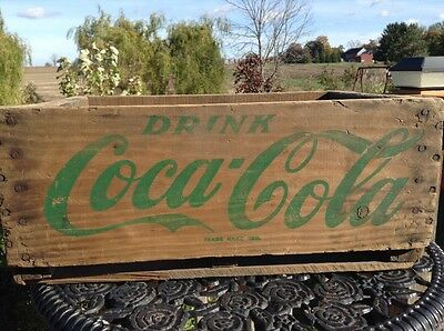 "Original 1960's Green Lettering ""COCA-COLA"" Wooden Crate"