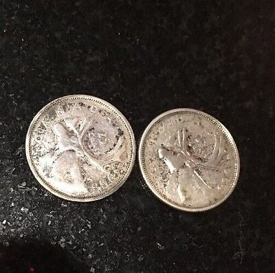 Silver 25 Cent Canadian coins 1958,1960