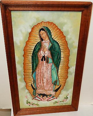 """A.m.rodriguez """"our Lady Of Guadalupe"""" Original Oil On Canvas Painting"""