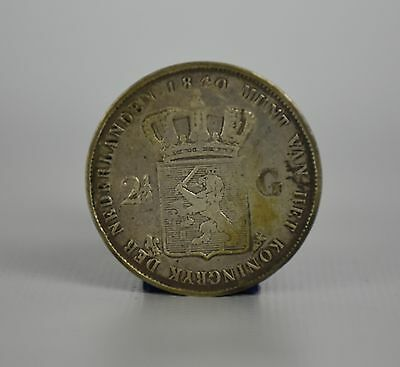 The Netherlands 2 1/2 Gulden 1840 Utrecht, Low Mintage, Willem Koning | 1091