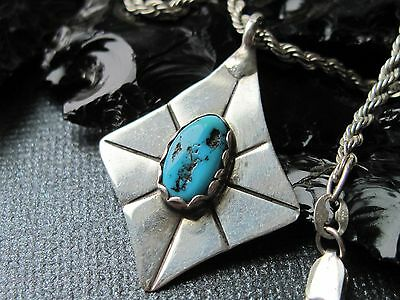 Vintage Old Pawn Turquoise & Sterling Pendant on a 925 Sterling Necklace