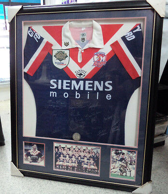 #bt. Framed & Signed 2000 Grandfinal  Rugby League Roosters  Player Jersey