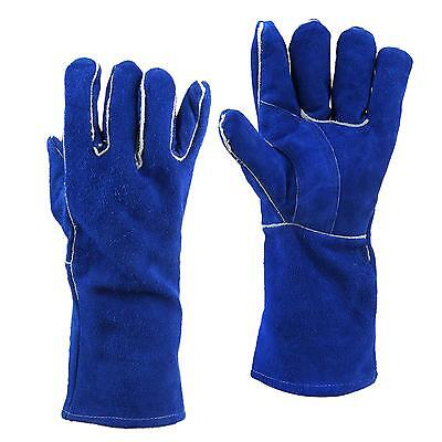 Blue Labor Insurance Leather Welding Gloves Lengthening Work Hands Protective