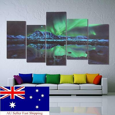 Framed Green Blue Modern Abstract Picture Canvas Paintings Print Wall Art Decor