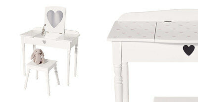 GLTC Maisie Dressing Table and Stool Set in White With Pink Hearts - has marks