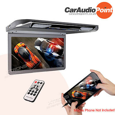 13 Inch Digital Screen Car Flip Down Roof Mount Monitor Slim Thin HDMI 1080P AUX