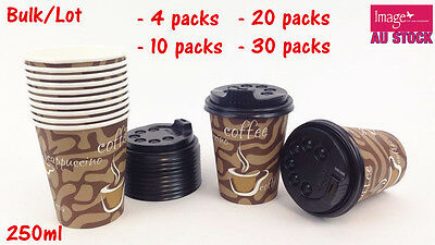 Bulk Lot Paper Coffee Cups 250ml w Lids Office Pantry Restaurant Party PC812