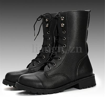 Women's Mid Calf PU Leather Martin Gothic Boots Lace Up Military Shoes AU STOCK